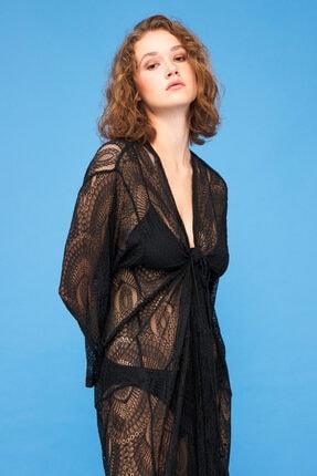 adL Kadın Siyah Truvakar Kollu Kimono