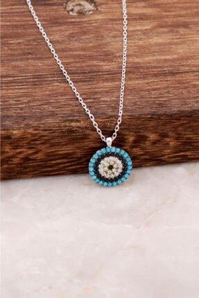 Sümer Telkari Kadın Göz Tasarımlı Rodyumlu Gümüş Kolye 4031