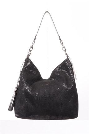 Kriste Bell Kadın Siyah Parlak Pullu Kumaş Omuz Çantası- Ckb005