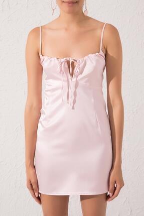 Bsl Kadın Pembe Askılı Mini Elbise