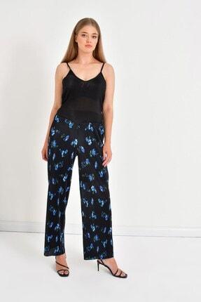MYLİNE Kadın Siyah Astarlı Plise Pantolon