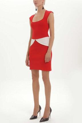 Societa - Kontrast Renkli Triko Elbise 27929 Kırmızı