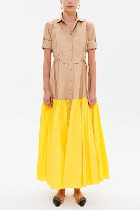 Societa - Balon Etekli Uzun Elbise 93316 Sarı