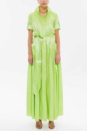 Societa - Cepli Ve Lastikli Gömlek Elbise 92606 Yeşil