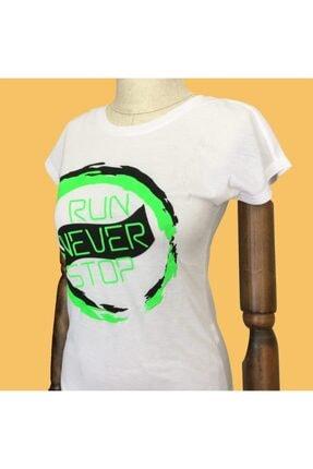 Speedlife Kadın Beyaz Run Never Stop Antrenman Tişörtü