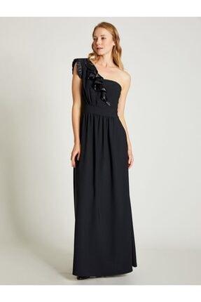 Vekem Kadın Siyah Tek Omuz Maxi Elbise 9109-0070