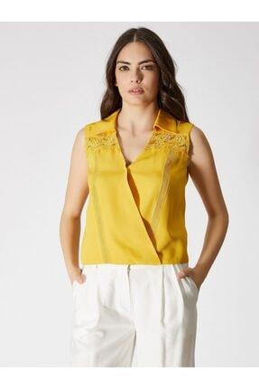 Vekem Kadın Sarı Dantel Detaylı Kolsuz Bluz