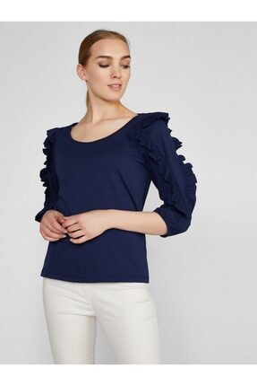 Vekem Kadın Lacivert Fırfır Detaylı Pamuklu Bluz 8207-0052