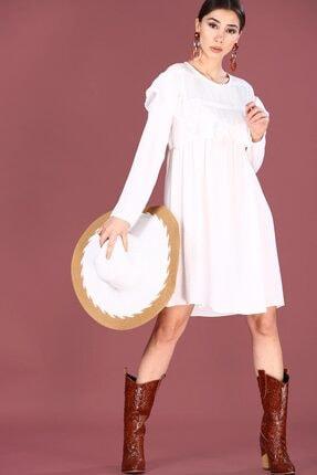 Nesrinden Fırfırlı Ekru Kadın Kadın Elbise