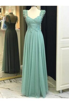 4694 Kadın Su Yeşili Elbise