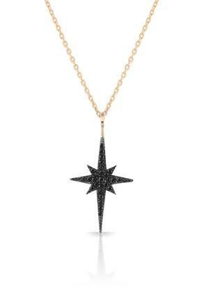 Azuris Silver Azuris 925 Ayar Gümüş Siyah Taşlı Kutup Yıldızı Kolye