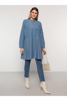 Alia Kadın  Asya Mavi  Düğme Detaylı Tunik - -