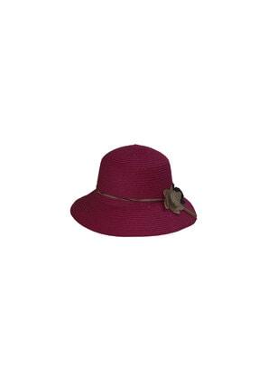 Bay Şapkaci Kadın Bordo Hasır Şapka