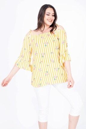 MYLİNE Kadın Sarı İp Askılı Volanlı Bluz 34535