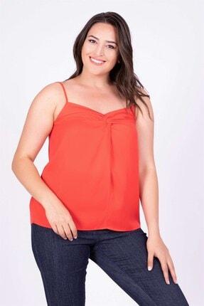 MYLİNE Kadın Kırmızı Düğüm Detaylı İp Askılı Bluz 34804