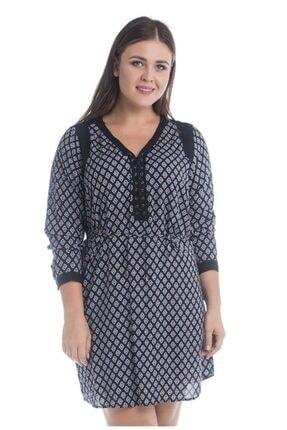 MYLİNE Kadın Siyah Beyaz Desenli Önü Kuşgözlü Uzun Kollu Elbise OKUE2