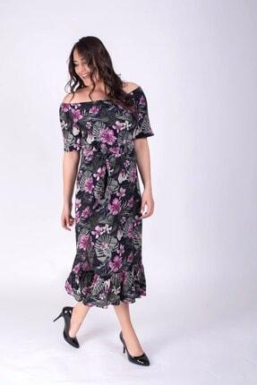 MYLİNE Kadın Siyah Düşük Omuzlu Yırtmaçlı Elbise 34394