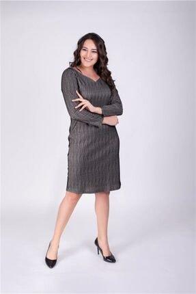 MYLİNE Kadın Siyah Damla Yaka Simli Elbise 34303