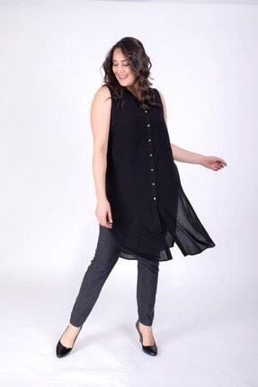 MYLİNE Kadın Siyah Önden Düğmeli Kolsuz Uzun Bluz 23790