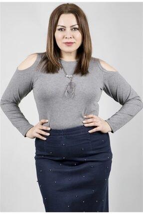 MYLİNE Kadın Gri Omuzları Açık Kolyeli Uzun Kol Bluz