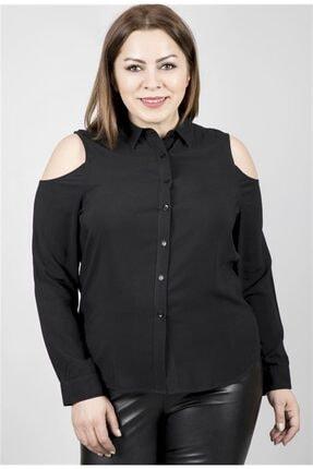 MYLİNE Kadın Siyah Omuzları Açık Uzun Kollu Viskon Gömlek 23570-m