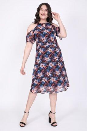 MYLİNE Kadın Lacivert Omuzları Açık Astarlı Şifon Elbise
