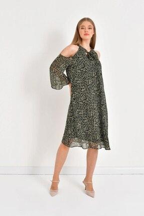 MYLİNE Kadın Yeşil Şifon Bağlama Detaylı Elbise