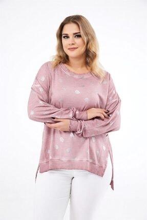 Seamoda Kadın Pembe Yaprak Baskılı Yanları Yırtmaçlı Sweatshirt