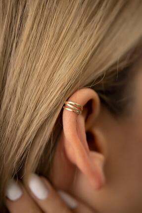 İzla Design Kadın Elips Model Altın Kaplama Gümüş İtalyan Kıkırdak Küpe