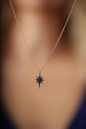 İzla Design Kutup Yıldızı Model Siyah Zirkon Taşlı Gümüş İtalyan Kolye