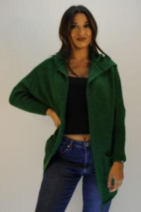 ERDEM Kadın Yeşil Kapüşonlu Hırka