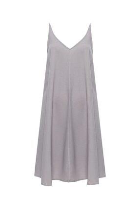 Vekem Kadın Gri Askılı Rahat Kesim Elbise 9109-0119