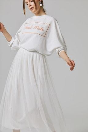 Loreen Kadın Beyaz Uzun Tül Astarlı Bel Lastikli Modern Etek