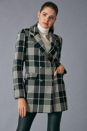 Robin Kadın Siyah Bej Kruvaze Ceket