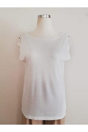 Vekem Kadın Beyaz Kayık Yaka Japone Kol Bluz 9107-0141