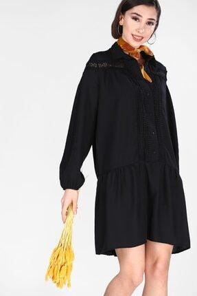 Nesrinden Kadın Siyah Güpürlü Elbise ELB0401D4996