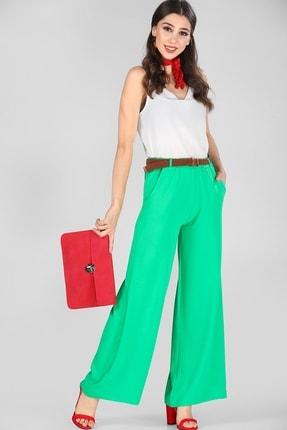 Nesrinden Kadın Kemerli Yeşil Pantolon PNT000206983