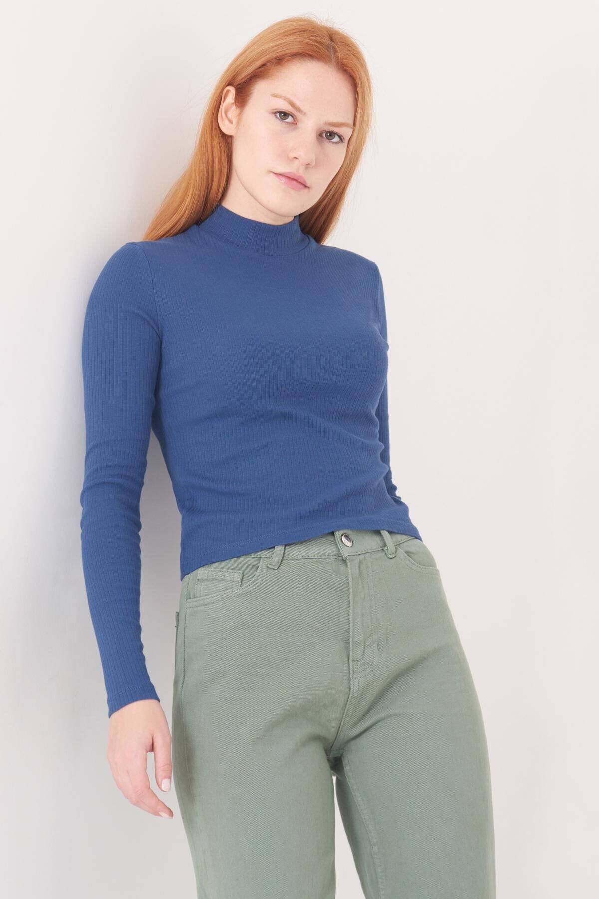 Addax Kadın İndigo Uzun Kollu Bluz B1070 - U8 ADX-0000023027
