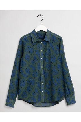 Gant Kadın Yeşil Regular Fit Ipek Gömlek