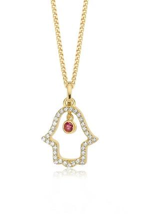 Valori Jewels Sallantılı Fatma Ana Eli, Swarovski Zirkon Kırmızı Ve Beyaz Taşlı, Altın Rengi Gümüş Kolye