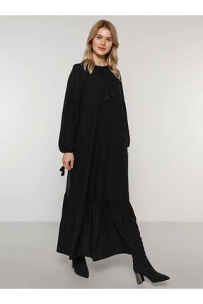 Alia Kadın Siyah Yakası Ve Kol Uçları Bağcıklı Elbise