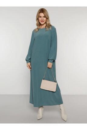 Alia Kadın Yağ Yeşili Basic Elbise