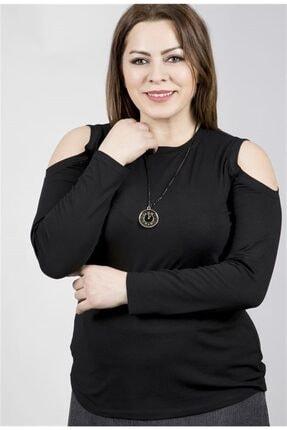 MYLİNE Kadın Siyah Omuzları Açık Uzun Kol Yumoş Kolyeli Bluz