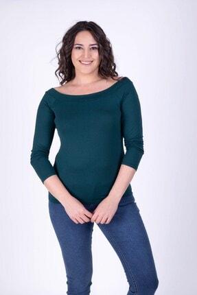 MYLİNE Kadın Yeşil  Karmen Yaka Bluz 34378