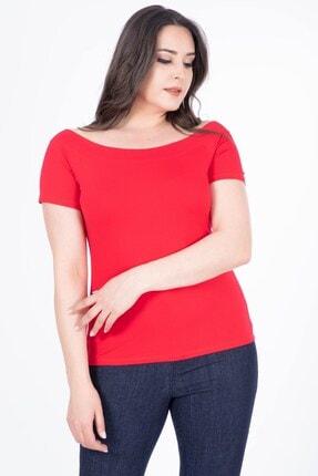MYLİNE Kadın Kırmızı Karmen Yaka Kısa Kol Bluz 34623