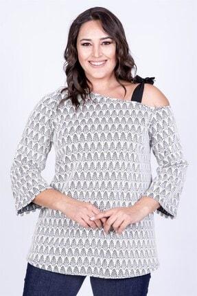 MYLİNE Kadın Beyaz Düşük Omuzlu Bağlama Detaylı Bluz 35080