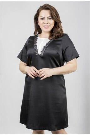 MYLİNE Kadın Siyah-Beyaz Önü Dantel Detaylı Kısa Kollu Saten Elbise 23517-m
