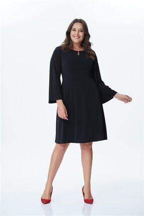MYLİNE Kadın Siyah İnci Düğme Detaylı Örme Elbise 24081