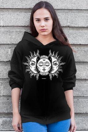 Rock & Roll34 Kadın Siyah Ay Güneş Kapşonlu Şardonlu Kalın Sweatshirt
