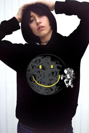 Rock & Roll34 Kadın Siyah Grafitici Astronot Kapşonlu Şardonlu Kalın Sweatshirt